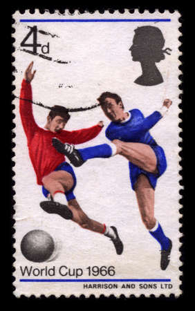 ENGLAND - CIRCA 1966: A stamp printed in ENGLAND shows soccer circa 1966.