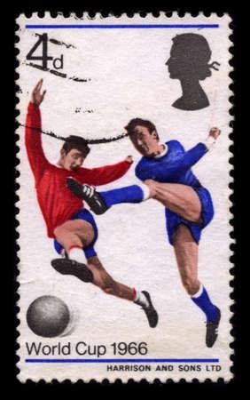 ENGLAND - CIRCA 1966: A stamp printed in ENGLAND shows soccer circa 1966.