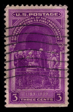 usps: USA - CIRCA 1939: A stamp printed in USA shows image of the dedicated to the Inauguration Of Washington As First President circa 1939.