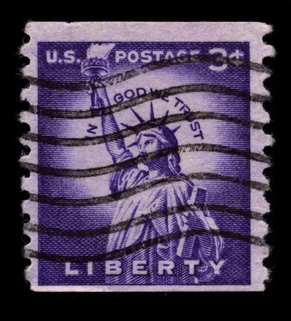 usps: USA - CIRCA 1930: A stamp printed in USA shows image of the dedicated to the Liberty circa 1930. Editorial