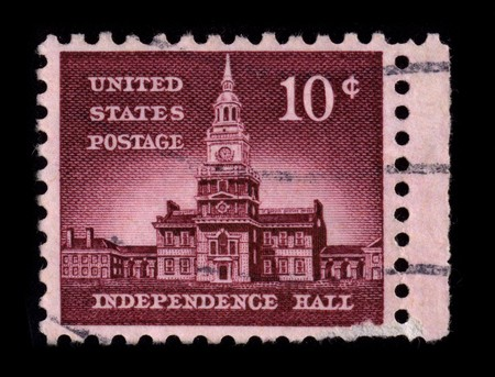 USA - CIRCA 1930: A stamp printed in USA shows image of the dedicated to the Independence Hall circa 1930.