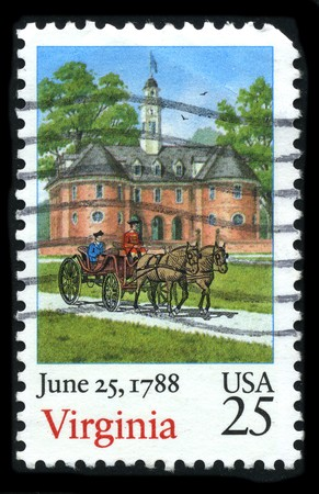 june 25: USA - CIRCA 1988: A stamp printed in USA shows image of the dedicated to the June 25,1788 circa 1988.