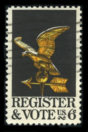 USA - CIRCA 1980: A stamp printed in USA shows image of the dedicated to the Register & Vote circa 1980.