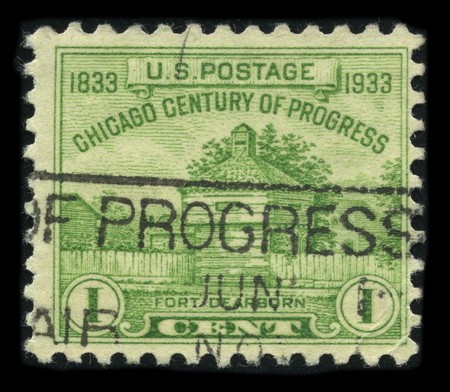 USA - CIRCA 1933: A stamp printed in USA shows image of the dedicated to the Chicago Century Of Progress circa 1933.