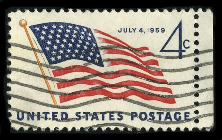 usps: USA - CIRCA 1959: A stamp printed in USA shows image of the dedicated to the July 4,1959 circa 1959.