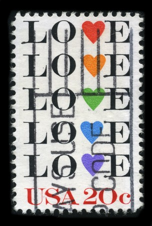 postal office: USA - CIRCA 1980: A stamp printed in USA shows image of the dedicated to the Love circa 1980.