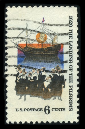 usps: USA - CIRCA 1980: A stamp printed in USA shows image of the dedicated to the 1620 The Landing Of The Piligrims circa 1980. Editorial