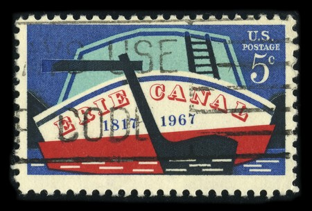 usps: USA - CIRCA 1967: A stamp printed in USA shows image of the dedicated to the Erie Canal circa 1967. Editorial