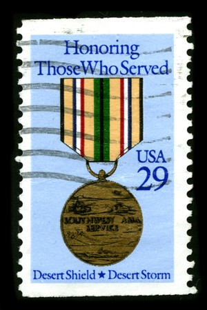recompense: USA - CIRCA 1980: A stamp printed in USA shows image of the dedicated to the Honoring Those Who Served circa 1980.