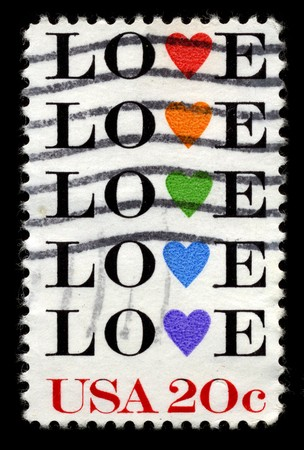 usps: USA - CIRCA 1980: A stamp printed in USA shows image of the dedicated to the Love circa 1980.