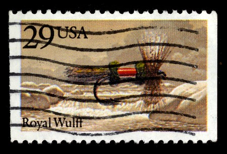 usps: USA - CIRCA 1980: A stamp printed in USA shows image of the dedicated to the Royal Wulff circa 1980.