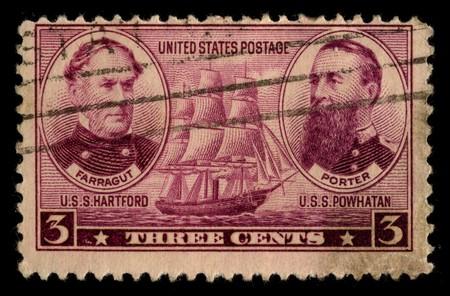 usps: USA - CIRCA 1930: A stamp printed in USA shows image of the dedicated to the U.S.S. Hartford and U.S.S. Powhatan circa 1930.