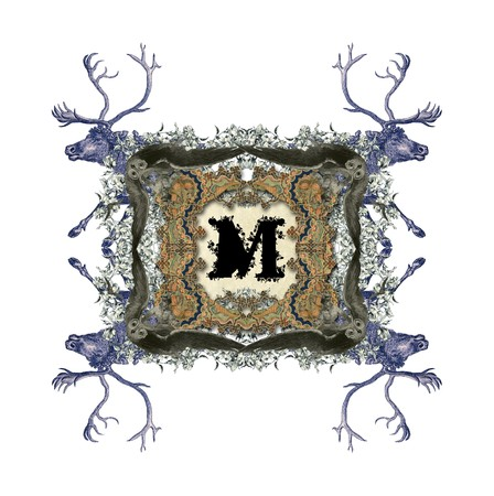 The Victorian capital letter M with four owls and four deer. photo