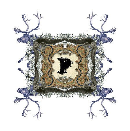 four p: The Victorian capital letter P with four owls and four deer.