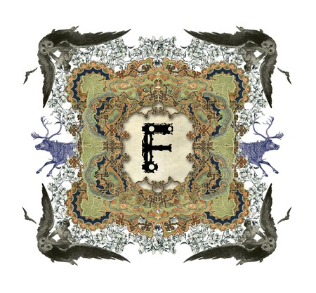 The Victorian capital letter F with four owls and two deer. photo