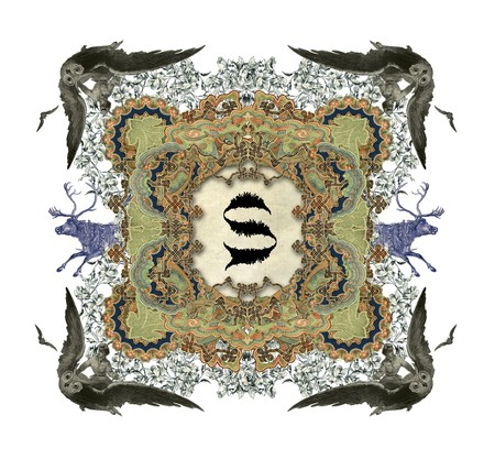 The Victorian capital letter S with four owls and two deer. photo