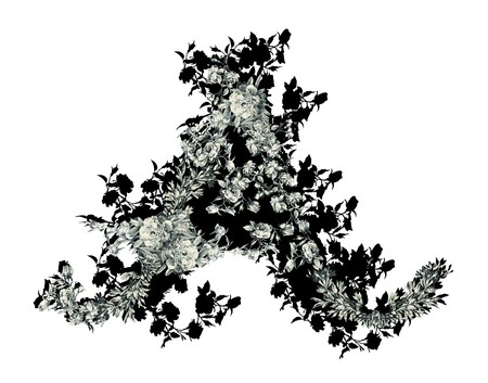luxuriously: Luxuriously illustrated old capital letter A with flowers.
