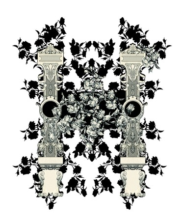 Luxuriously illustrated old capital letter H with flowers. photo