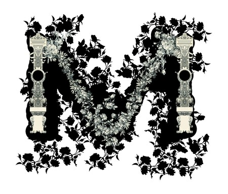 luxuriously: Luxuriously illustrated old capital letter M with flowers. Stock Photo