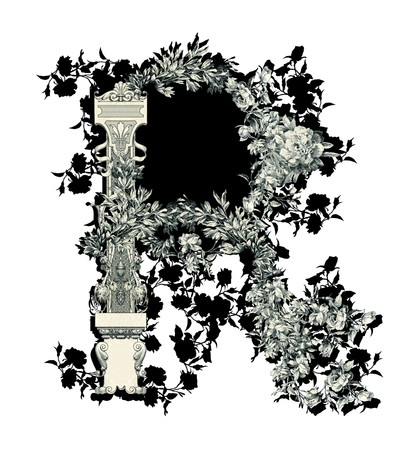 Luxuriously illustrated old capital letter R with flowers. photo