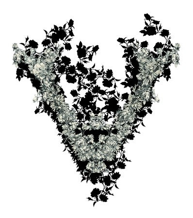 luxuriously: Luxuriously illustrated old capital letter V with flowers.