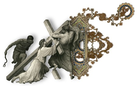 crucifiction: Victorian letter F with Jesus Christ, enfeebled by the weight of the cross.