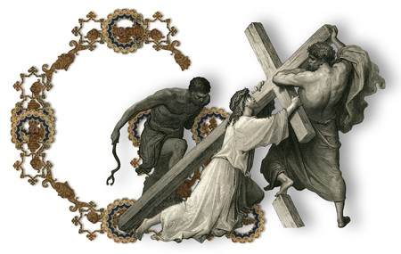 crucifiction: Victorian letter G with Jesus Christ, enfeebled by the weight of the cross. Stock Photo