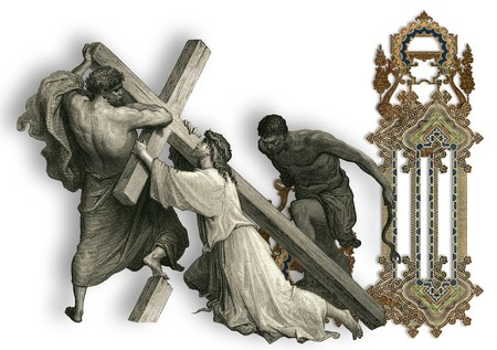 crucifiction: Victorian letter J with Jesus Christ, enfeebled by the weight of the cross.