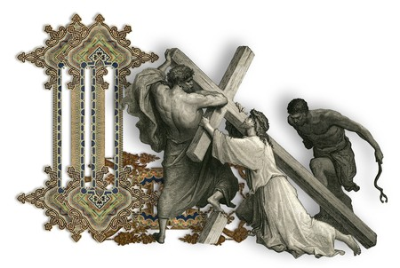 crucifiction: Victorian letter L with Jesus Christ, enfeebled by the weight of the cross. Stock Photo