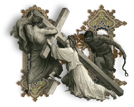 golgotha: Victorian letter N with Jesus Christ, enfeebled by the weight of the cross.
