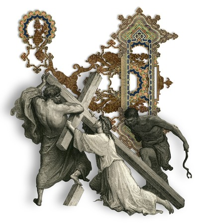 Victorian letter U with Jesus Christ, enfeebled by the weight of the cross. photo