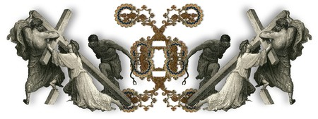 crucifiction: Victorian letter X with Jesus Christ, enfeebled by the weight of the cross.