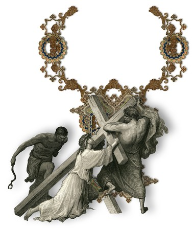 crucifiction: Victorian letter Y with Jesus Christ, enfeebled by the weight of the cross.