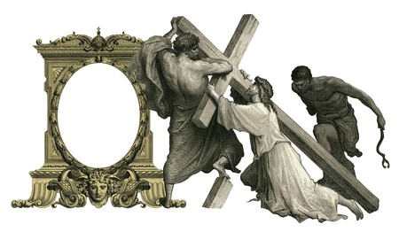 golgotha: Victorian frame with Jesus Christ enfeebled by the weight of the cross.