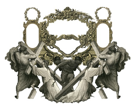 Victorian frame with Jesus Christ enefeebled by the weight of the cross. photo