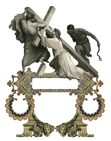 Victorian frame with Jesus Christ enfeebled by the weight of the cross. photo