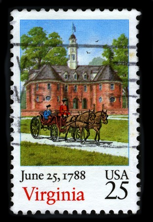 june 25: USA - CIRCA 1988: A stamp printed in USA shows image of the dedicated to the June 25,1788 Virginia circa 1988.