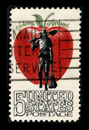 postal office: USA - CIRCA 1980: A stamp printed in USA shows image of the dedicated to the Johnny Applesed circa 1980.