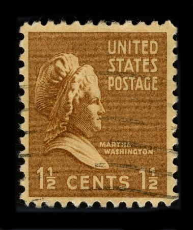 mediaval: USA - CIRCA 1930: A stamp printed in USA shows portrait Martha Washington circa 1930.