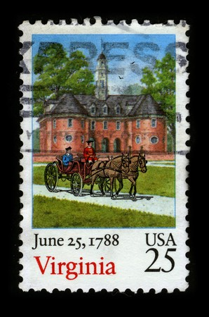 june 25: USA - CIRCA 1988: A stamp printed in USA shows image of the dedicated to the June 25, 1788 Virginia circa 1988.