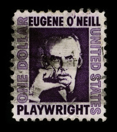mediaval: USA - CIRCA 1980: A stamp printed in USA shows portrait Eugene Gladstone ONeill (16 October 1888 � 27 November 1953) was an American playwright, and Nobel laureate in Literature circa 1980.