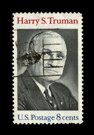 mediaval: USA - CIRCA 1980: A stamp printed in USA shows image portrait Harry S. Truman (May 8, 1884 – December 26, 1972) was the 33rd President of the United States circa 1980.