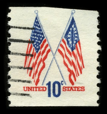 USA - CIRCA 1960: A stamp printed in USA shows image of the dedicated to the American Flag circa 1960.