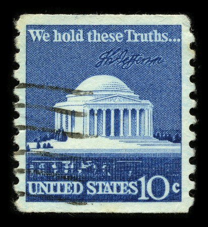 bill of rights: USA - CIRCA 1980: A stamp printed in USA shows image of the dedicated to the We Hold These Truths, a celebration of the 150th anniversary of the United States Bill of Rights circa 1980.