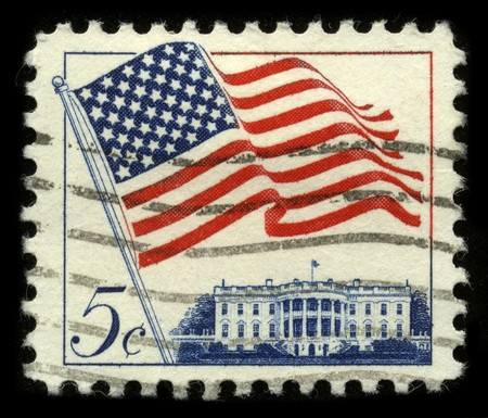 collectibles: USA - CIRCA 1960: A stamp printed in USA shows image of the dedicated to the American Flag circa 1960.
