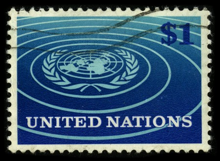 USA - CIRCA 1980: A stamp printed in USA shows image of the dedicated to the United Nations circa 1980. Stock Photo - 7840446