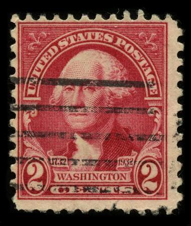 george washington: Estados Unidos - CIRCA 1932: Un sello impreso en Estados Unidos muestra imagen Retrato George Washington (1732?1799), fue el primer Presidente de los Estados Unidos (1789?1797), alrededor del a�o 1932.