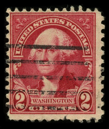 USA - CIRCA 1932: A stamp printed in USA shows image portrait George Washington (1732�1799), was the first president of the United States (1789�1797), circa 1932.