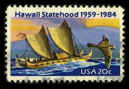 statehood: USA - CIRCA 1984: A stamp printed in USA shows image of the dedicated to the Hawaii Statehood circa 1984. Editorial