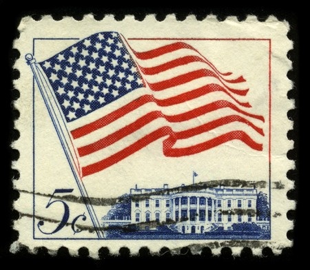 mediaval: USA - CIRCA 1960: A stamp printed in USA shows image of the dedicated to the American Flag circa 1960.